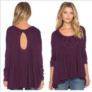 Free People Purple New Hope Babydoll Keyhole Top